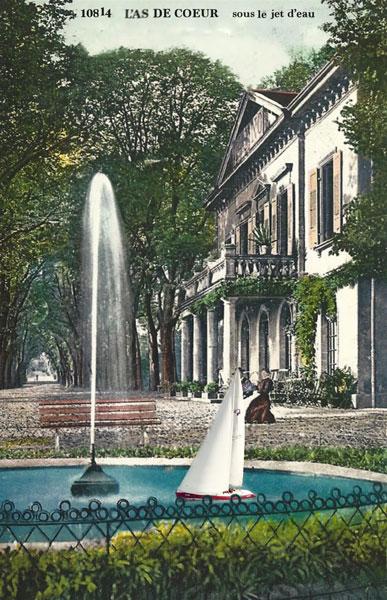 L'As de Coeur sous le jet d'eau vers 1900